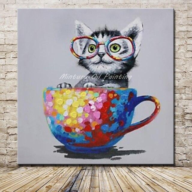 Mintura cuadros pintados a mano de dibujos animados taza y for Imagenes de cuadros abstractos faciles