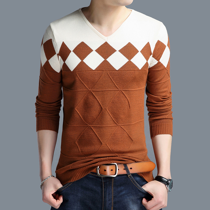 LUX ANGNER Casual Men Sweaters Pullover Men Autumn Long Sleeve Patchwork Knitted Sweaters High Quality Male Sweaters Plus Size