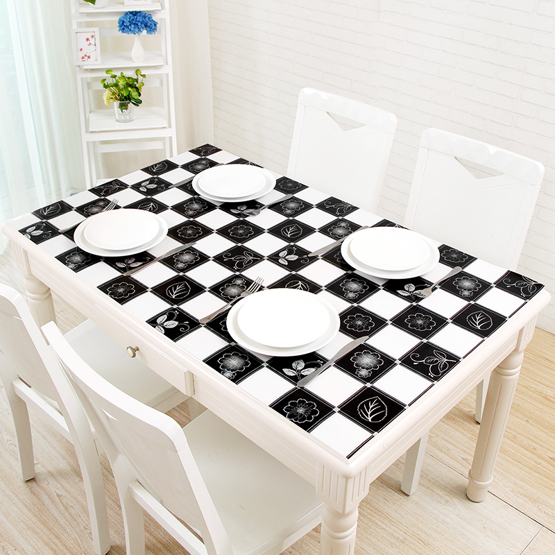 PVC tablecloths coffee table Soft glass Office table desk cover Black and white grid Plastic table mat Waterproof table cloth