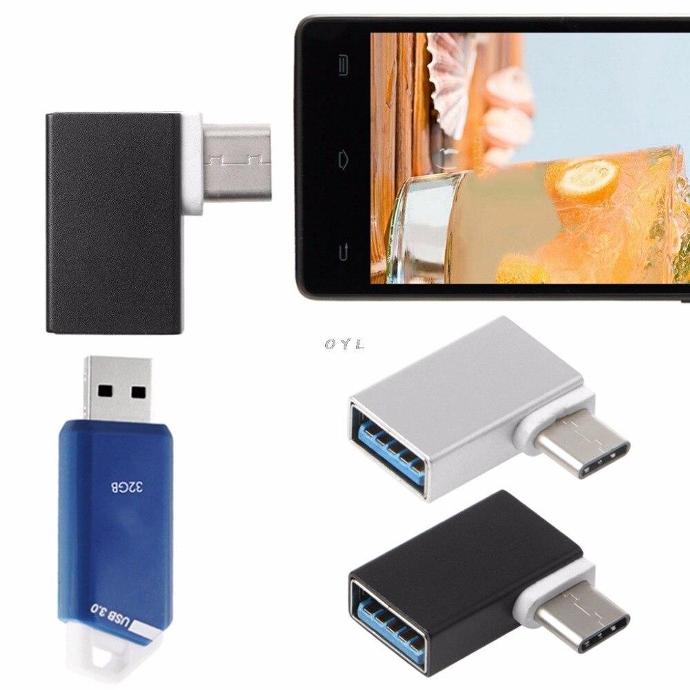 Portable Aluminum 90 Degree USB3.1 Type C To USB 3.0 Female Data OTG Converter For  Android Phone Hard Disk Drive