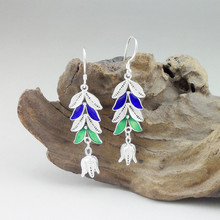 цены Women 999 Sterling Silver Earrings Cloisonne Enamel Drop Earrings Dangle Rose Flower Green Blue Ethnic Handmade Fine Jewelry