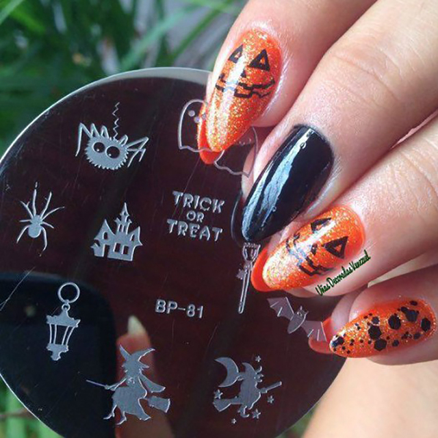 BORN PRETTY Nail Stamping Template Halloween Witch Bat Nail Art Stamp Image  Plates Manicure Nail Decoration - BORN PRETTY Nail Stamping Template Halloween Witch Bat Nail Art