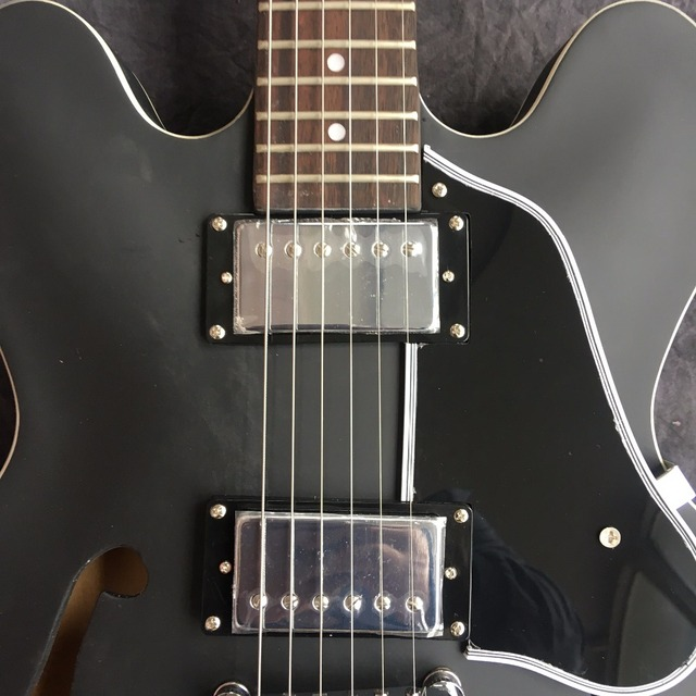 Chinese Maple Finish Black Frosted Guitar Jazz Body Hollow With Hardware Chrome Custom Left-handed Available 2