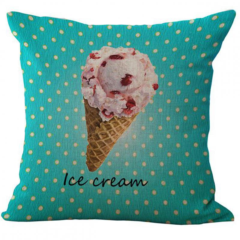 2016 Latest Design Western Dessert Ice Cream Cake Printing Linen Throw Pillow Case Home Kids Room Supplies Hot Gifts