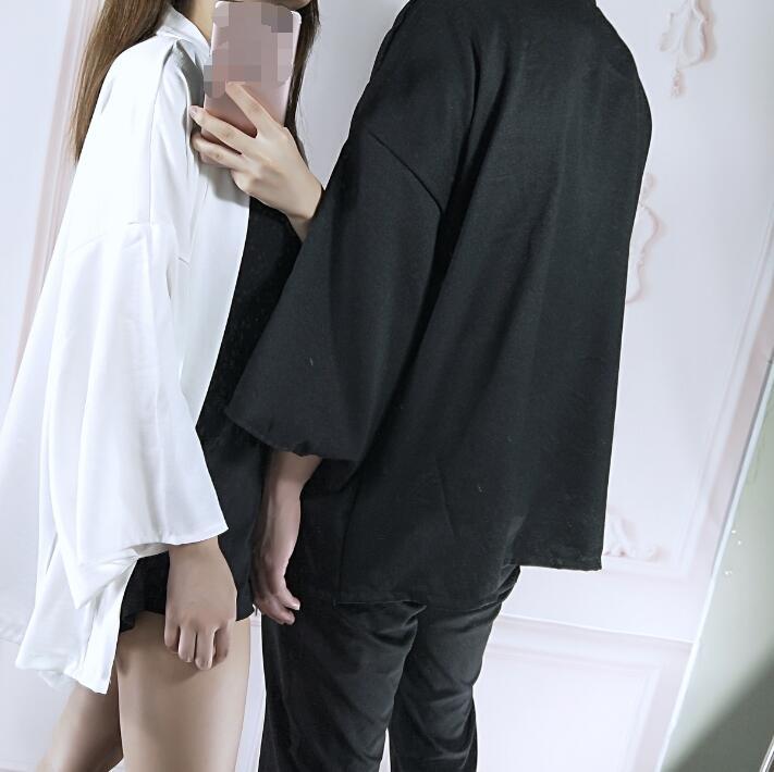 Spring Summer Couple Fashion Coat Japanese Kimono Cardigan Kimono Woman Man White Black Loose Outer Garment