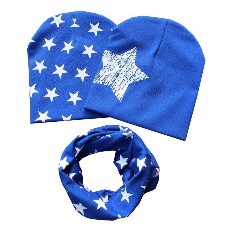 Cotton Baby Hat Scarf Kids Hat Autumn Winter Children Scarf-collar Boys Girls Warm Beanies Star Print Infant Hats Sets