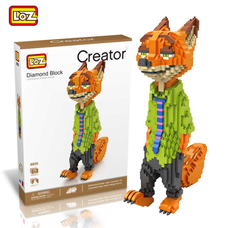 LOZ Diamond Blocks Big Size Zootopia DIY Building Toys  Anime Auction Figures Juguetes Large size Fox Rabbit Kids Gift 9029-9030 loz diamond blocks assembly display case plastic large display box table for figures nano pixels micro blocks bricks toy 9940