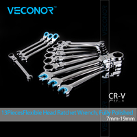 Veconor 13 Pieces Active Head Ratchet Wrench Spanner Set Combination Key Wrench Set 7 8 9