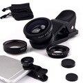 3 en 1 lente Gran Angular Macro Ojo de Pez Lente de la Cámara Universal Móvil teléfono lentes lentes de ojo de pez para iphone 6 7 microscopio smartphone