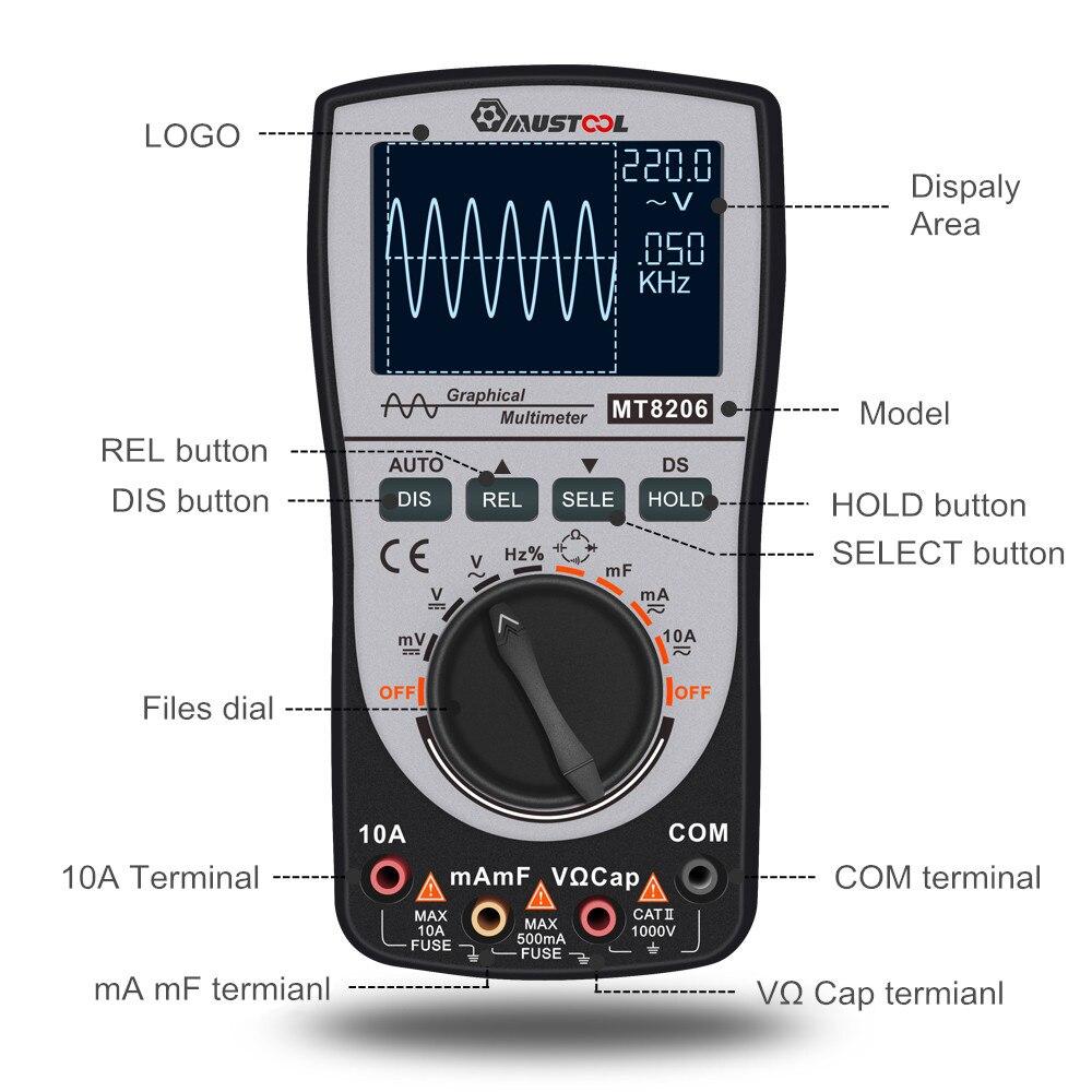 2-in-1 MT8206 Intelligent Digital Oscilloscope/Multimeter for High-speed A/D Sampling