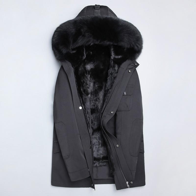 Real Fur Coat Natural Mink Fur Liner Parka Winter Jacket Men Real Raccoon Fur Collar Jackets Mink Fur Coat Plus Size 4264 YY727(China)