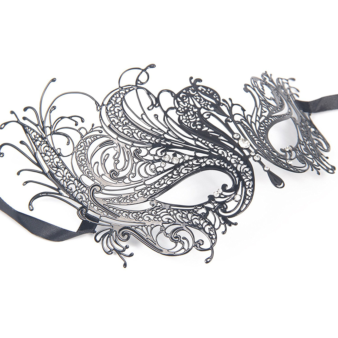 Metal Laser Cut Hollow Mask Black