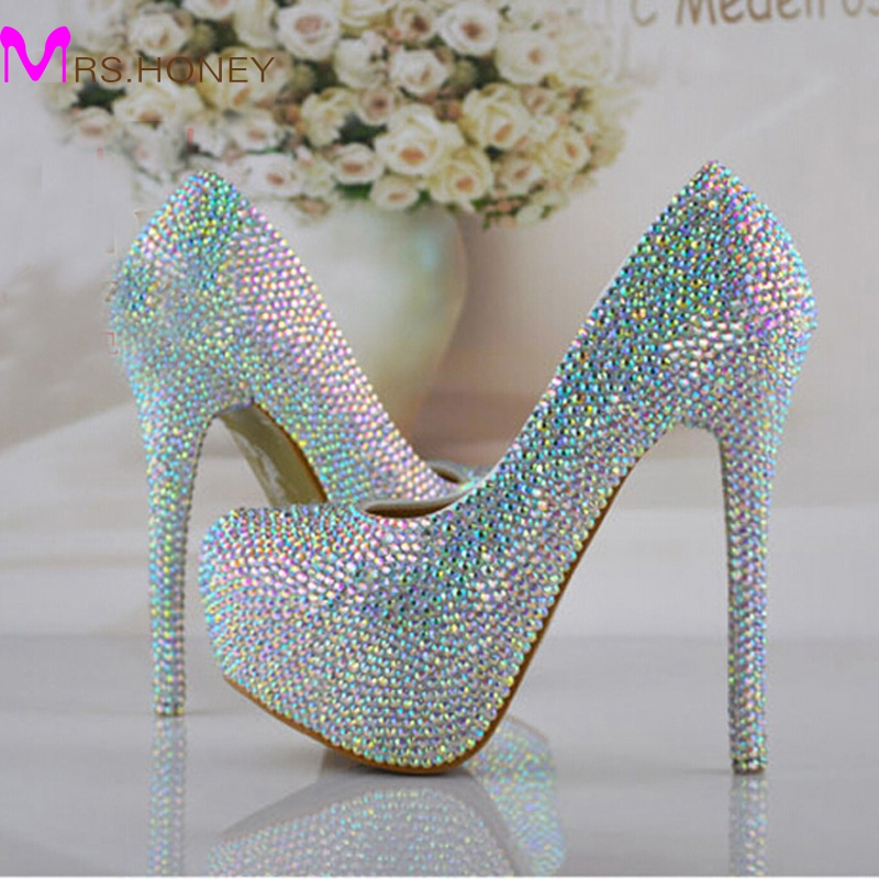 Size 34-43 Wedding Bridal Shoes AB Crystal Bling Bling Cinderella Shoes Amazing Bridal High Heels Prom Evening Party Pumps лонгслив синий hugo boss ут 00007186