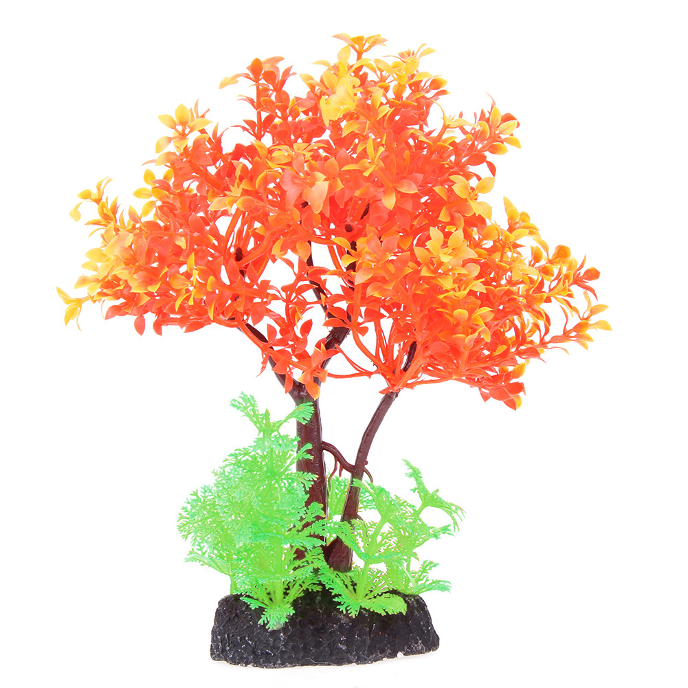 Aquarium fish tank sizes - Artificial Plant Resin Plastic Orange Tree Aquarium Fish Tank Rockery Bonsai Accessories Hotel Ornament Decor Size 20 15 4cm