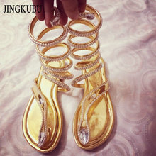 2016 Новое поступление змея женские летние Обувь женские босоножки женские сандалии-гладиаторы с ремешками, украшенными кристаллами женские Сапоги и ботинки 35-46