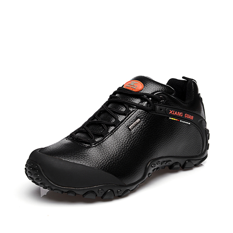 ФОТО Free Shipping Woman Man Genuine leather waterproof outdoor slip resistant shoes hiking shoes breathable sneakers