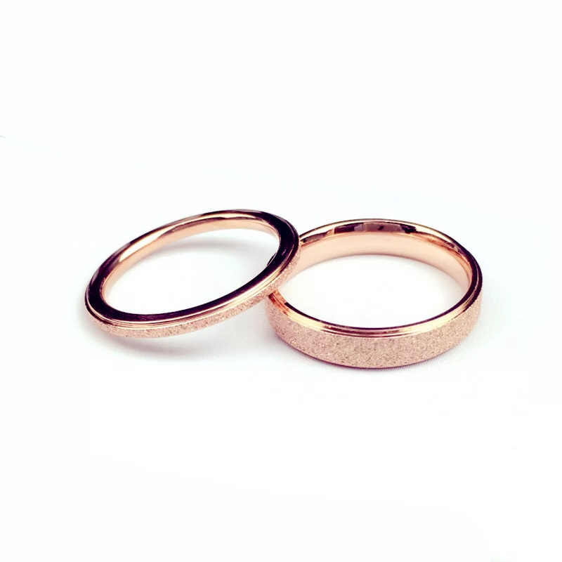 2-6mm Rose Gold Brush Finish Titanium Stainless Steel Ring Engagement Wedding Charm Rings Men Women Couples Tail Ring