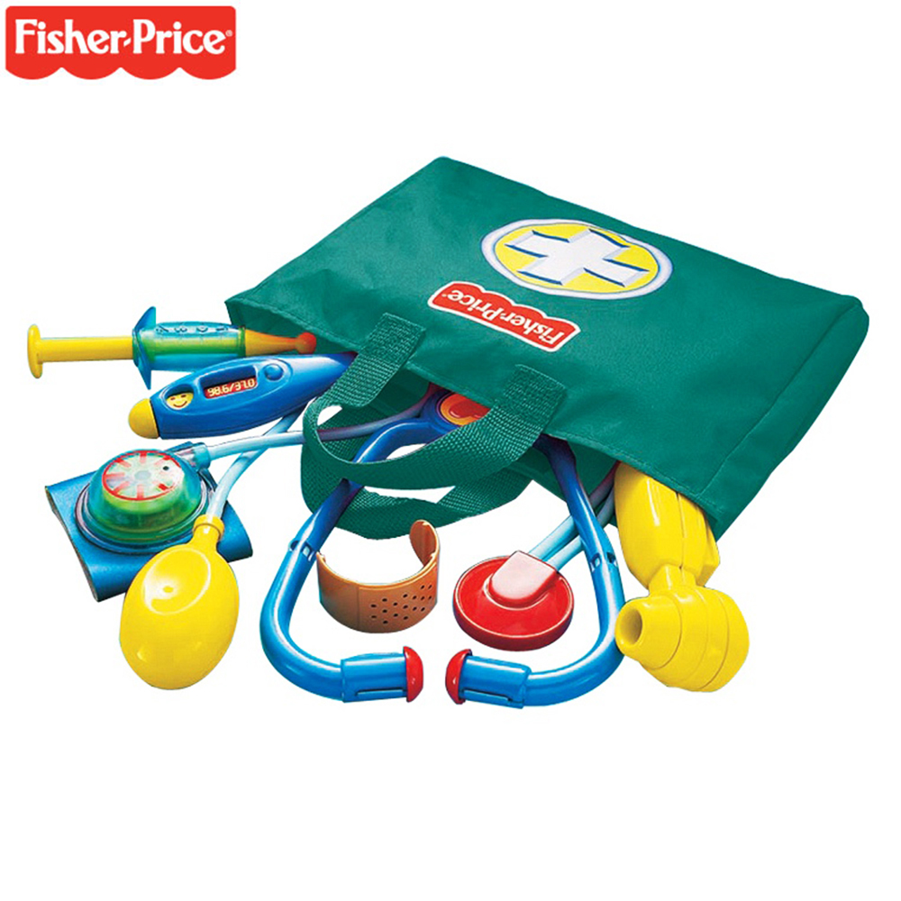 Original Fisher Price Doctor Toys Pretend Play Set  Simulation Medicine Box Doctor Toys Role Play Children Educational Baby Toys kids baby doctor medical play set carry case education role play toy kitm43o