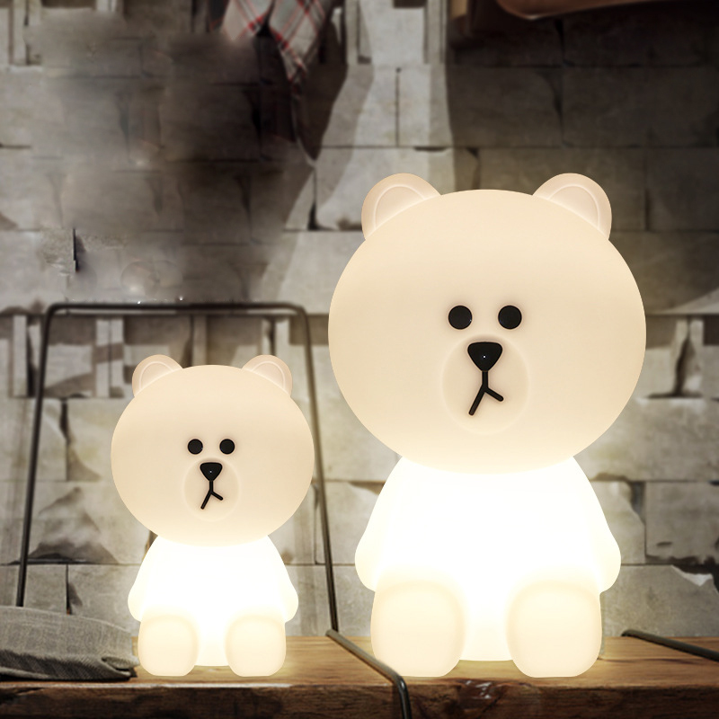 Bear Led Night Lights Dimmable Baby LED Night Lamps Bedroom Animal Cartoon Decorative Lamp Bedside Living Room Y2 - 3