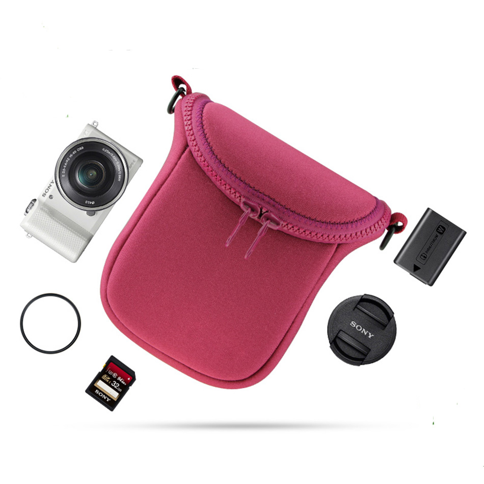 Mini Video Camera Bag Cover Case for Sony A5000 A6000 A5100 A6300 RX1R NEX-5T NEX-5N NEX-5R NEX-6 NEX-7 NEX-F3 3N With Strap плечевой ремешок для камеры sony blt 110 nex vg20e