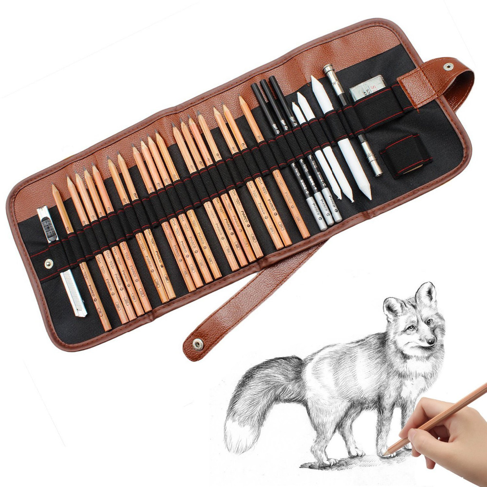 29pcs portable sketch pencil set roll up canvas carry pouch drawing tools set eraser craft knife kit bag for beginners artist in standard pencils from