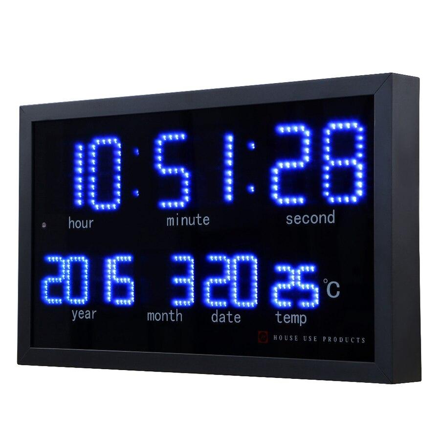Grande horloge murale numérique Design moderne salon décoration électronique LED calendrier horloges montre murale décor à la maison silencieux
