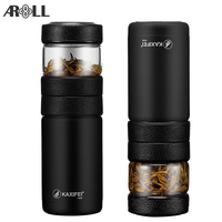 Travel Double Wall Thermos Tea Bottle with Infuser Filter Vacuum Flask Stainless Steel Insulated Thermos Glass Tea Bottle