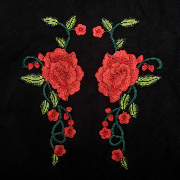 2017 DIY New High quality A pair of peony flower Embroidery patch Clothing decals garment accessories Cloth sticker Sew On
