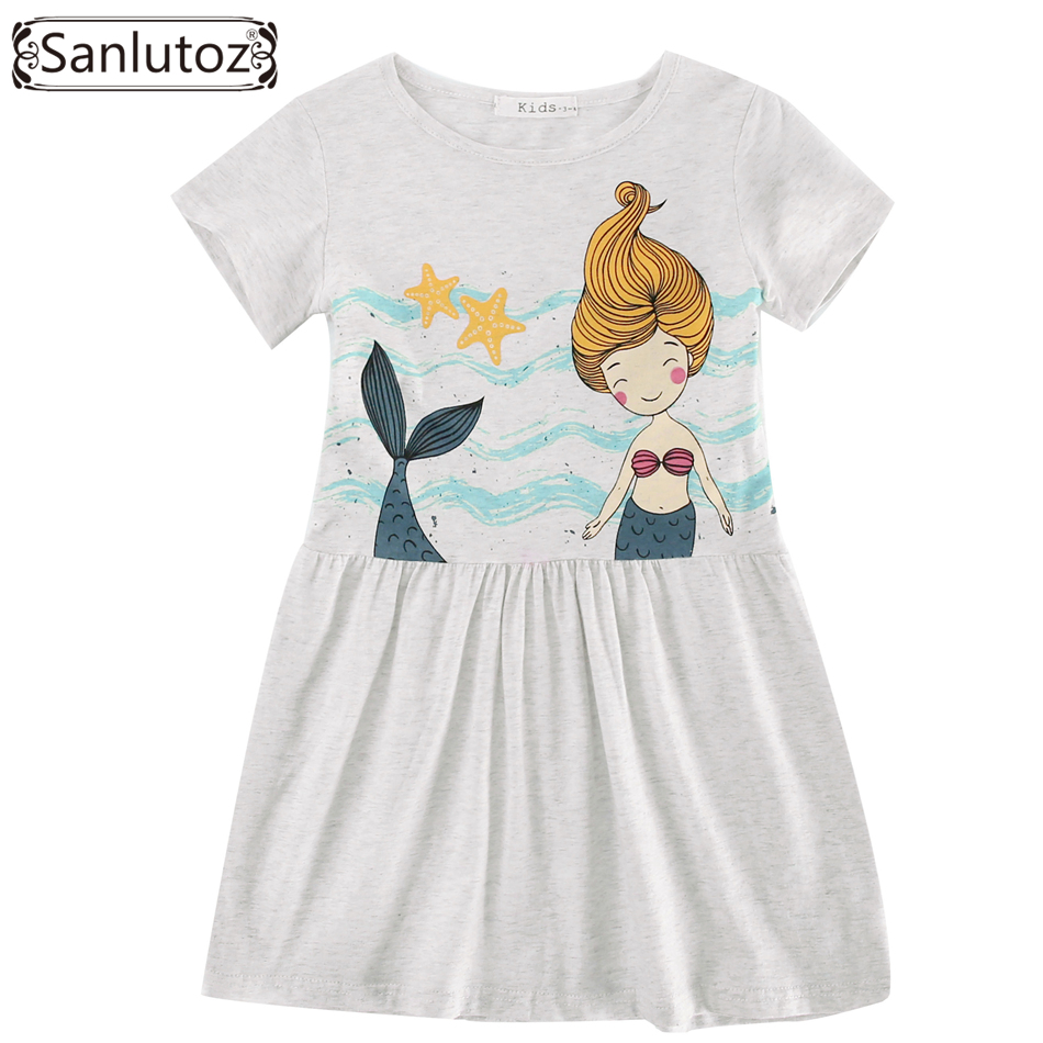 Sanlutoz Cotton Children Dress Summer Cute Cartoon Girl Clothes New 2017 Kids Dress Toddler Party Brand Birthday Princess 1137328464 radiator cooling fan computer for ford focus 2 mazda 3 fan speed control unit module 1 137 328 464