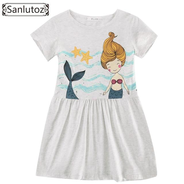 a671e71036345d Sanlutoz katoen kinderen jurk zomer leuke cartoon meisje kleding nieuwe  2017 kids jurk peuter party merk