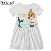 Sanlutoz Cotton Children Dress Summer Cute Cartoon Girl Clothes New 2017 Kids Dress Toddler Party Brand