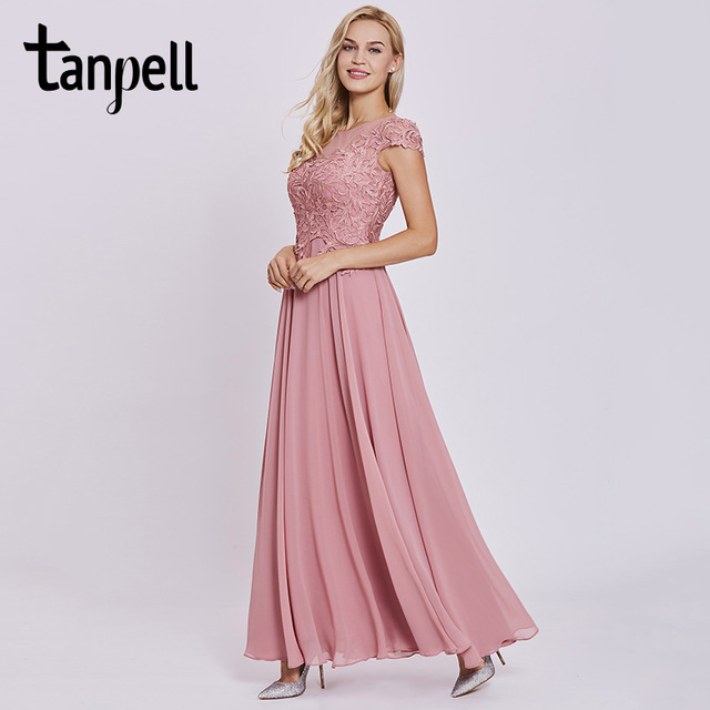 Tanpell appliques prom dresses peach cap sleeves lace floor length a ...