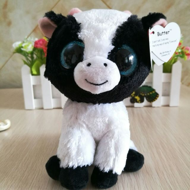 Ty Beanie Boos Plush Toy 15cm BUTTER COW CATTLE Soft 6 inch Kids Toy  Birthday Gift bba0310c8988