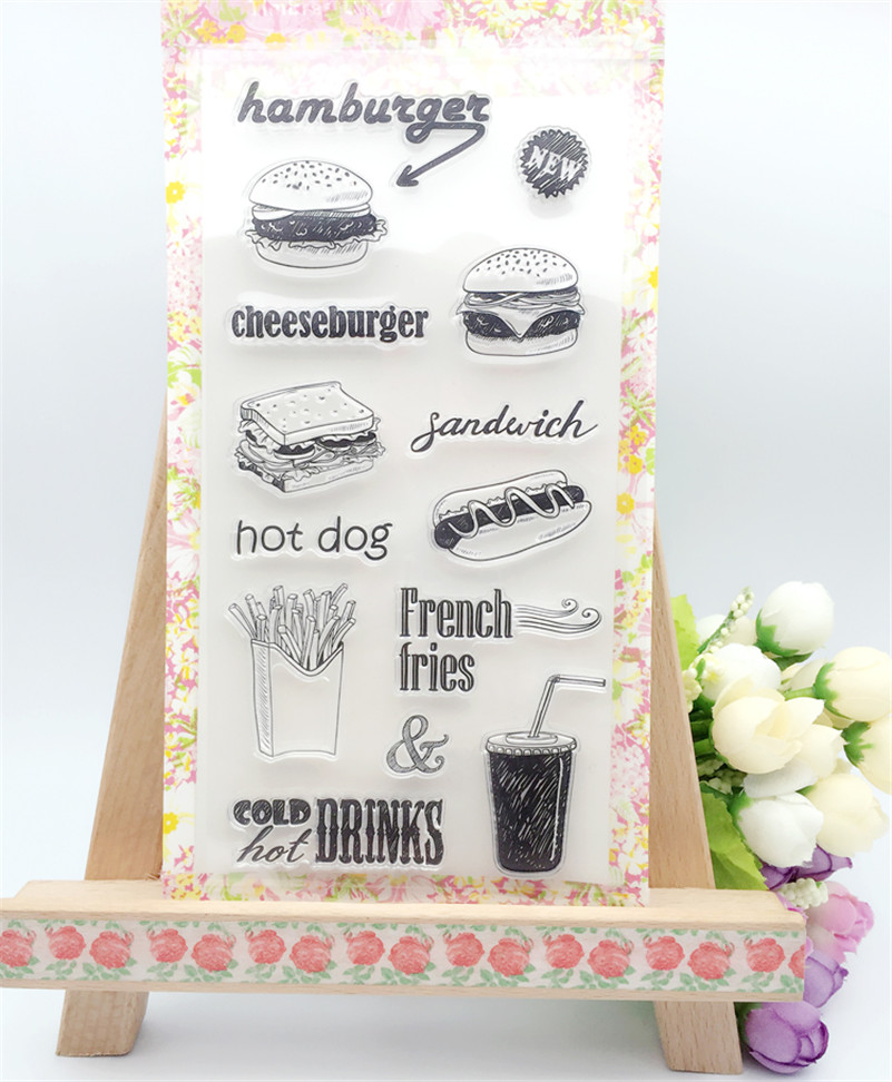 delicious food hamburger hot dog design Transparent Clear Silicone clear Stamp Seal for DIY scrapbooking photo album  LL-053
