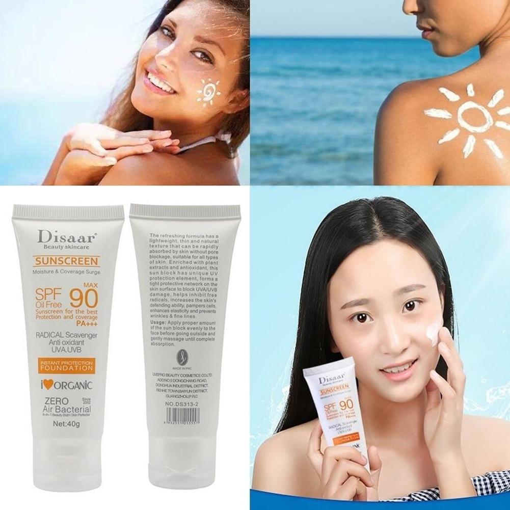 Skin Care Facial Body Sunscreen Cream Spf Max 90 Oil Free Radical Scavenger Anti Oxidant UVA/UVB 40g Sun Skin Protective Cream