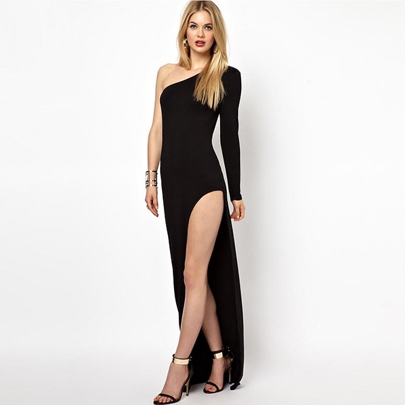 New 2018 European Fashion Long Sleeve Sloping Shoulder Side Split Women Maxi Dress Black/Deep Khaki/Red