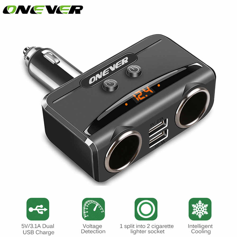 Onever 12-24V 2 Sockets Cigarette Lighter Power Socket with 3.1A Dual USB Car Charger Voltage Display Power Adapter For iPhone