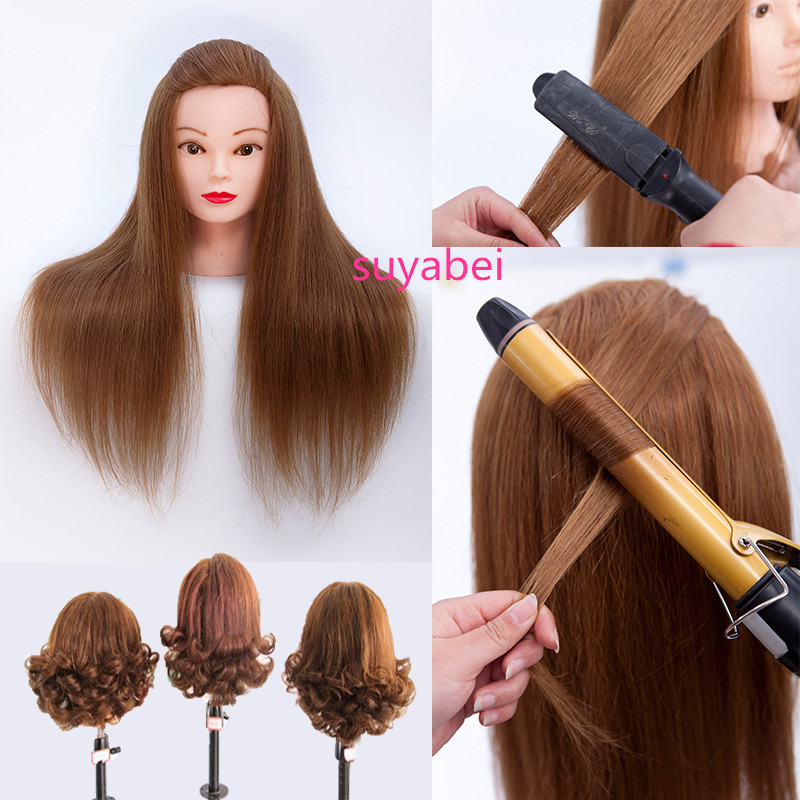 85% Natural Hairstyling Head Manikin Head With Human Hair Hairdressing Mannequins Mannequin Head Hairdresser Head