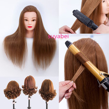 лучшая цена 85% natural hairstyling head manikin head with human hair hairdressing mannequins mannequin head hairdresser head