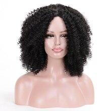 MSIWIGS Жаночыя парыкі ў Чорны Кароткія сінтэтычны парык Curly для жанчын высокай тэмпературы валакна Afro Non Lace Natural Brown Hair
