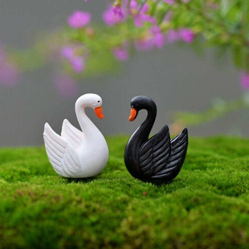 Artificial Mini Goose Animals Fairy Garden Miniatures Gnomes Terrariums Resin Craft Figurines Home Decoration Accessories 4Pcs