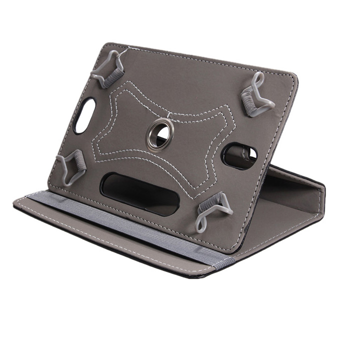 Universal Grip 360 degree Rotating PU Leather Case Cover Stand For 8  Android Table PC MID PAD, Black