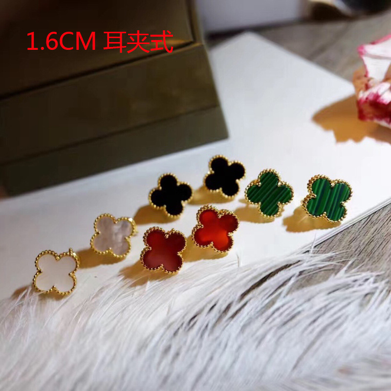 1.6cm Exquisite design Brand Fashion fine Jewelry Women Wedding Earrings Mother Shell Green Red Black lover Screw-back Earrings new luxury brand fine exquisite sunshine full of small earrings for women circle wedding party earrings fashion jewelry