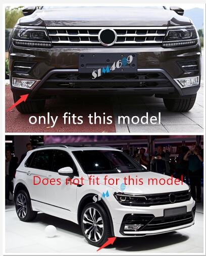 Car-Styling Accessories ABS front Bottom Bumper Lid Cover Trims 2PCS for Volkswagen VW Tiguan Second Generation 2017 2018 1 18 масштаб vw volkswagen новый tiguan l 2017 оранжевый diecast модель автомобиля