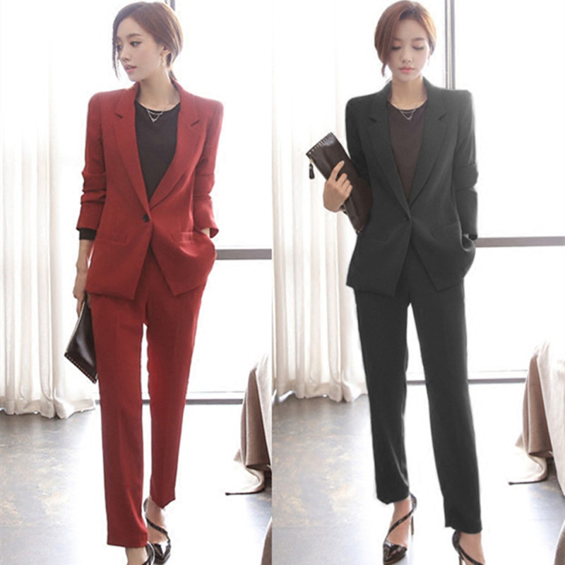 2019 Woman Suits Lady Suit Office Women's Trouser Suits High Quality Long Sleeve Red Blazer Female Pants Suit Ladies Suit Red