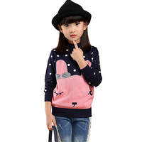 Cartoon Sweaters For Girls Warm Knitted Cardigan Children's Sweater Cotton Pull Enfant Fille Girl Winter Tops With Dots