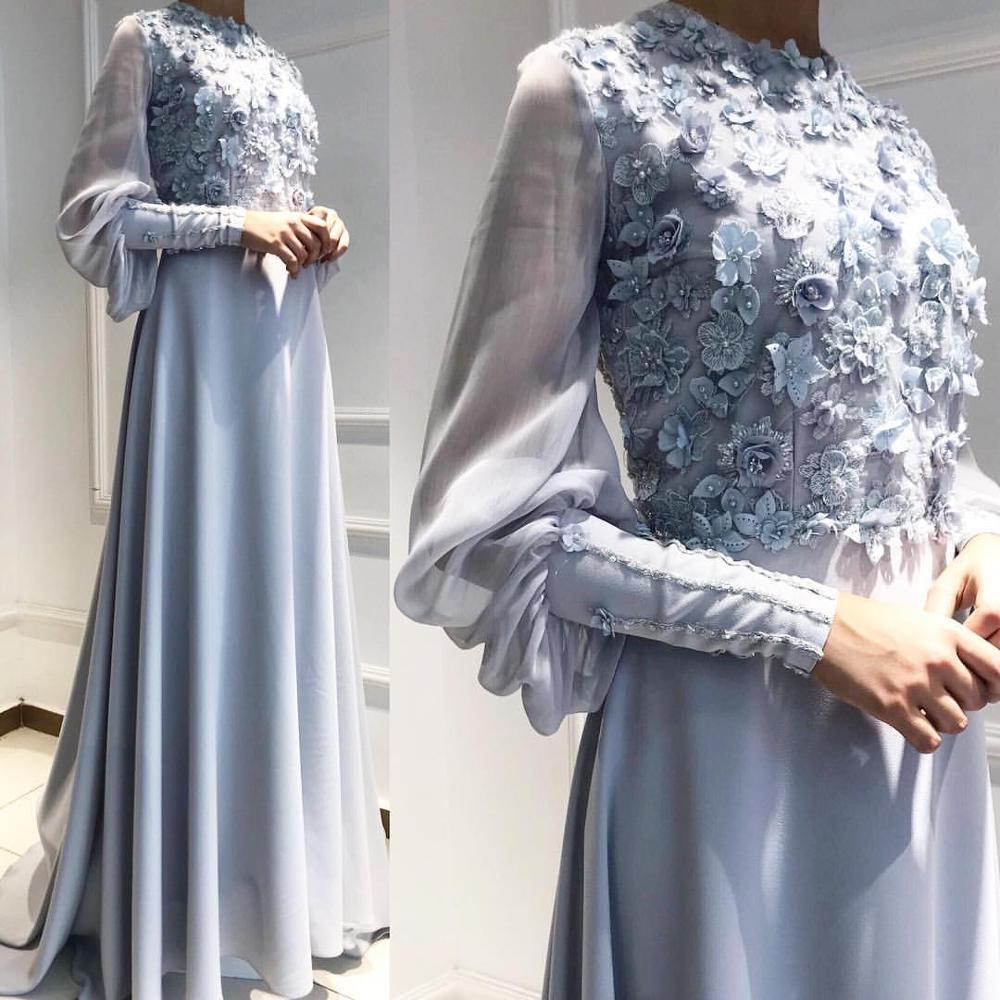Superbes longues robes de soirée musulmanes Dubai arabe longues robes tenue de soirée avec manches fleurs fermeture éclair dos perle robe de soirée