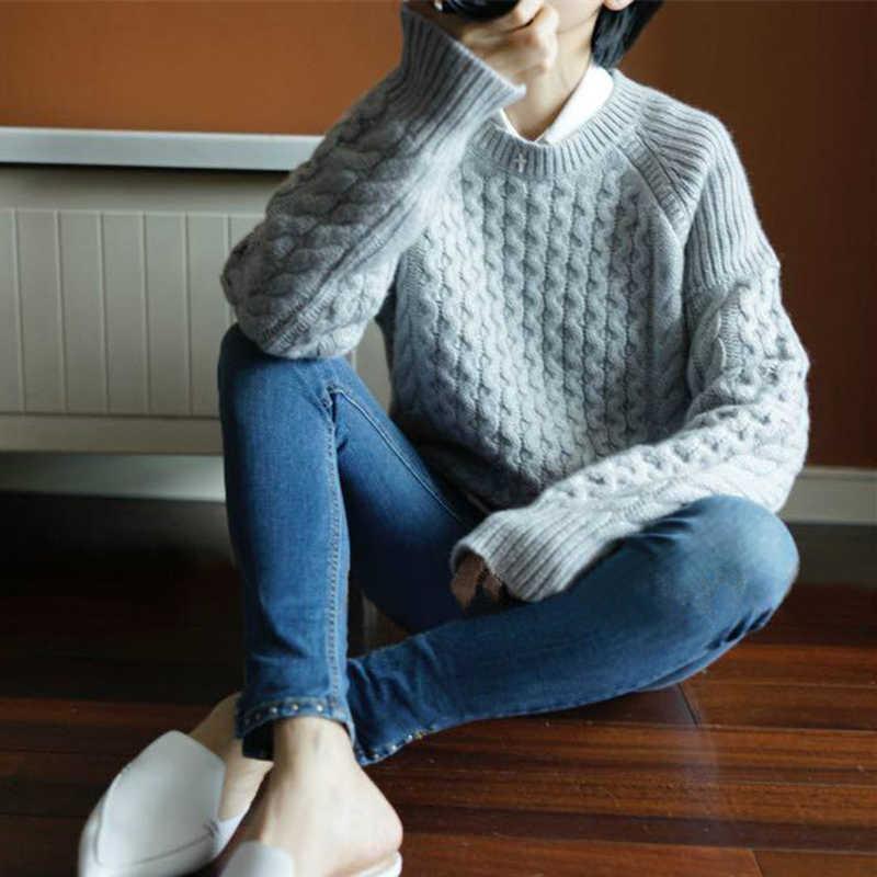 נשים סוודר 2019 חדש הגעה סתיו חורף קשמיר סוודר נשים O-צוואר החם Loose גבירותיי ארוך שרוול לעבות חולצות