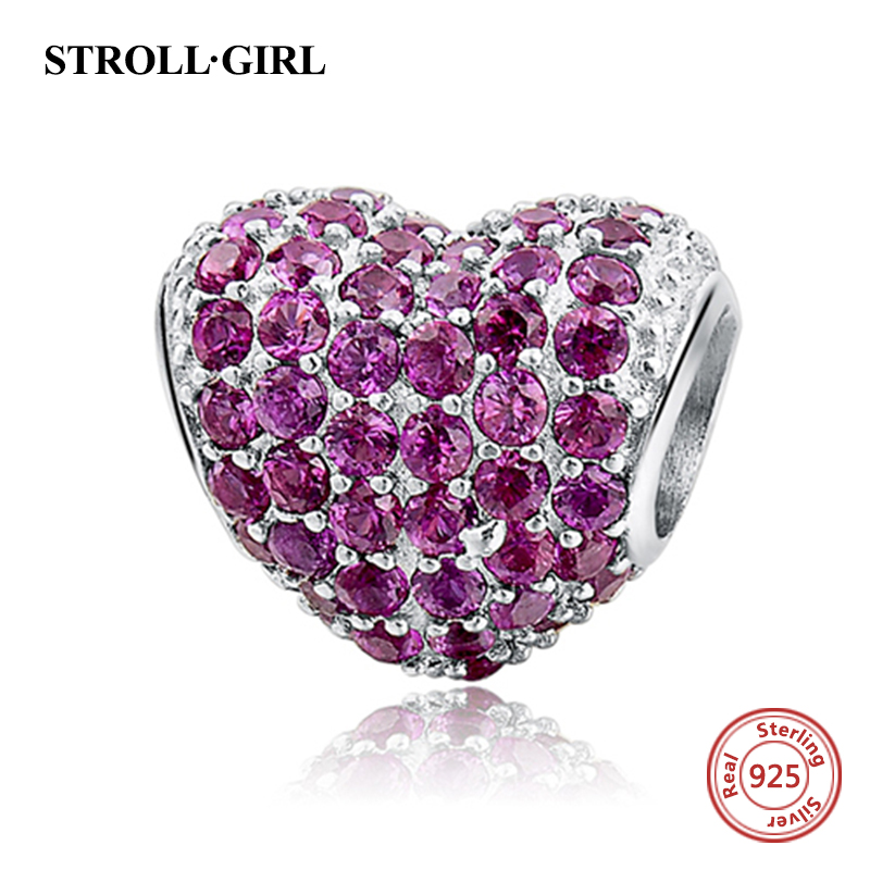 Fit pandora beads for bracelets silver 925 original Antique Love Heart With Pink CZ Charms DIY Beads DIY Jewelry Women Gifts