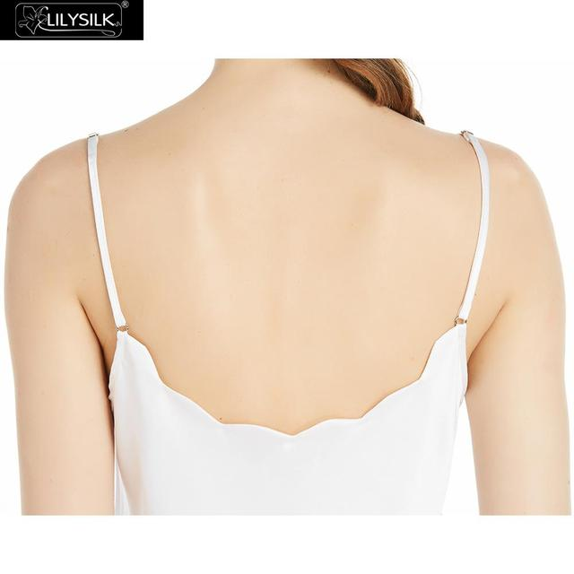 LILYSILK Silk Camisole for Women 16MM Comfy Essentials White Scalloped Trim Cute Lingrie Tops Ladies